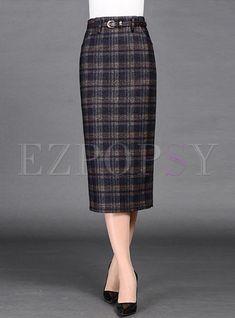 #AdoreWe #Ezpopsy - #Ezpopsy High Waist Slit Plaid Temperement Skirt - AdoreWe.com