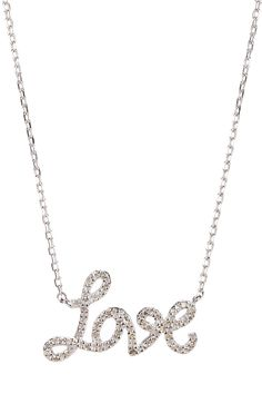 "Pave Diamond ""Love"" Pendant Necklace"