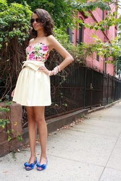 bow skirt, royal blue peep toe bow flats, sweetheart neckline tube top