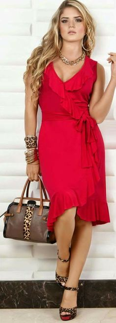 Love a RED Dress! Fabulous Curvy style & wrap with soft ruffles!