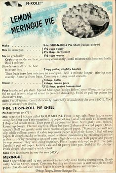 Lemon Meringue Pie - A vintage clipped recipe for Lemon Meringue Pie and Stir-N-Roll Pie Shell from Gold Medal Flour. Lemon Meringue Pie - A vintage clipped recipe for Lemon Meringue Pie and Stir-N-Roll Pie Shell from Gold Medal Flour. Retro Recipes, Old Recipes, Vintage Recipes, Recipies, Dessert Party, Dinner Party Desserts, Best Lemon Meringue Pie, Lemon Meringue Cheesecake, Lemon Pie Recipe
