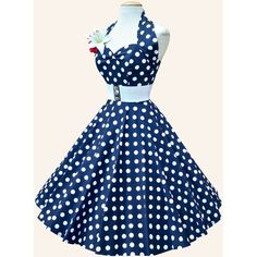 50s Halterneck Polka dot Dress from Vivien of Holloway 1950s Dresses... ($115) ❤ liked on Polyvore featuring dresses, short dresses, blue mini dress, halter swing dress, blue swing dress, polka dot halter dress and blue halter dress