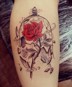 beauty and the beast tattoos Tattoo Femeninos, Piercing Tattoo, Leg Tattoos, Flower Tattoos, Body Art Tattoos, Piercings, Sleeve Tattoos, Tattos, Unique Tattoos