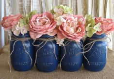 SALE!  Set of 4 Pint Mason Jars,  Painted Mason Jars, Flower Vases, Rustic Wedding Centerpieces, Navy Blue Mason Jars,  Pint Jars