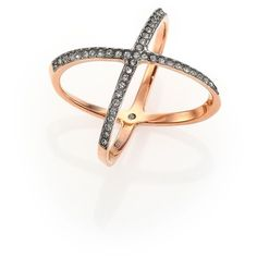 Michael Kors Brilliance Statement Pave Jet X Ring/Rose Goldtone (£44) ❤ liked on Polyvore featuring jewelry, rings, apparel & accessories, rose gold, michael kors jewelry, rhinestone rings, womens jewellery, engagement rings and rhinestone jewelry