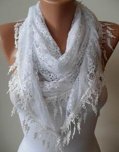 White Laced Scarf with White Trim Edge