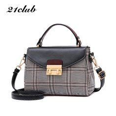 21club brand 2018 plaid casual ladies totes hotsale party shopping work  purse coin women messenger crossbody shoulder handbags Review 3a9acb05bc3a0