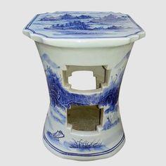 RYLL24_Blue and White Ceramic Poolside furniture Stool – ALL Ceramic stool/ porcelain garden stool