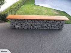 Gabion bench seat for sale on Trade Me, New Zealand's auction and classifieds website Backyard Patio, Backyard Landscaping, Gabion Wall Design, Landscape Design, Garden Design, Stone Landscaping, Porche, Beach Gardens, Garden Seating