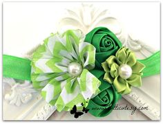 Green Chervon Flower Headband by tutticutesytutus on Etsy
