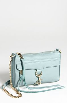 "Rebecca Minkoff 'Mini MAC' Crossbody Bag available at #Nordstrom $195 9""W x 6""H x 1 1/2""D, 22"" Shoulder Strap Drop  An oversized clip lock boldly details the front flap closure of a glazed-leather crossbody bag. The M.A.C., or Morning After Clutch, is a perennial favorite from the Rebecca Minkoff line, Top zip closure. Optional chain strap. Exterior zip pocket under flap. Interior wall pocket. Protective metal feet. Signature lining. Leather."