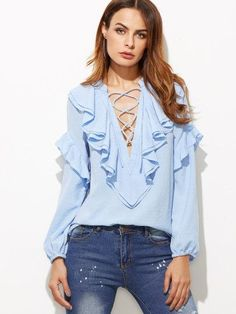 Blue Lace Up Plunge Neck Ruffle Blouse