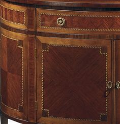 Luxury furniture - Louis XVI style half-round inlaid cabinet finished in mahogany veneer inlaid with maple, cherry and palissander