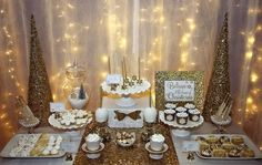 Gorgeous dessert table at a gold Christmas party! See more party planning ideas at CatchMyParty.com!