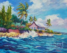 An old cottage sits in relative safety as waves crash against the sea wall at Prospect Reef, Grand Cayman. Bob Ross, Landscape Art, Landscape Paintings, Cottages By The Sea, John Clark, Clark Art, Canvas Art, Canvas Prints, Canvas Paper