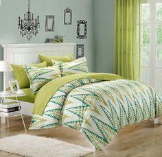 Amazon.com - Chic Home Selina 3-Piece Duvet Cover Set, King, White/Blue -