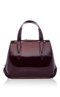 15f8cbb4137a Patent Leather Top Handle Bag by DELPOZO Now Available on Moda Operandi  Purple Handbags, Purple