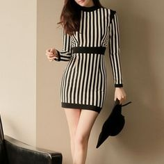 Buy Aurora Long-Sleeve Stripe Sheath Dress at YesStyle.com! Quality products at remarkable prices. FREE WORLDWIDE SHIPPING on orders over US$35.