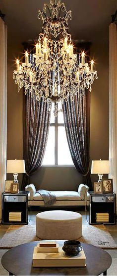 Absolutely elegant and flawless | Chandeliers and home luxury. This is really pretty but I think I would feel like dressing up to sit in my living room.