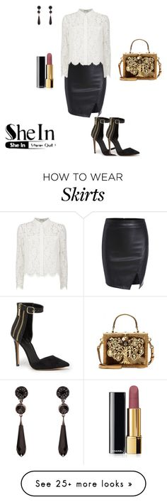 """black split skirt"" by mariea23 on Polyvore featuring Chay, Bebe, Givenchy, Dolce&Gabbana and Chanel"
