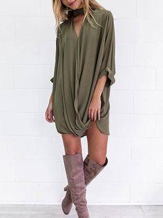 Army Green Cross Front Semi-sheer V-neck Mini Shirt Dress