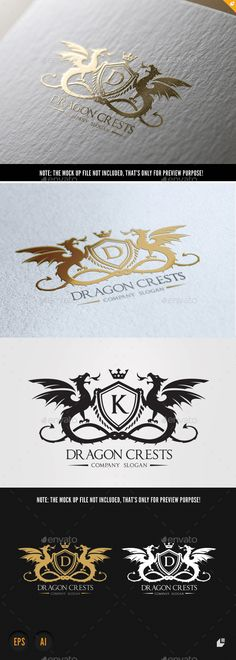 Dragon Crests by LayerSky Logo Template FeaturesAI and EPS (Illustrator 10 EPS CMYK Scalable Vector Files Easy to edit color / text Ready to pr Royal Logo, Etiquette Vintage, Crest Logo, Luxury Logo, Print Fonts, Crests, Letter Logo, Coat Of Arms, Logo Design Inspiration