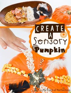 Sensory Pumpkin-Simple Halloween pumpkin decorating that is great for all ages (toddlers included), sensory play, fine motor skills, and creativity-Perfect!