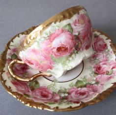 Antique LIMOGES Porcelain Cup + Saucer PINK ROSES I have my heroine Lilly inherit a house crammed full of teacups, including beautiful Limoges teacup sets! Antique Tea Cups, Antique Dishes, Vintage Dishes, Vintage Tea, Vintage China, Tea Cup Set, My Cup Of Tea, Tea Cup Saucer, Teapots And Cups