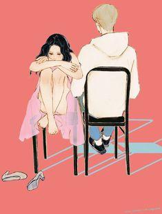 Couple Illustration, Character Illustration, Illustration Art, Cute Couple Art, Anime Love Couple, Cute Love Pictures, Digital Art Girl, Sad Art, Korean Art