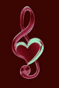 Music notes Trebel clef love heart