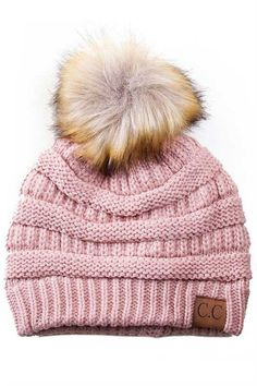 CC Beanie Cable Knit Beanie with Pompom in Indie Pink