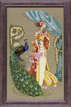 Lady Hera is the title of this cross stitch pattern from Mirabilia that is stitched with DMC threads, Gloriana (Olive Grove), Mill Hill Bead...