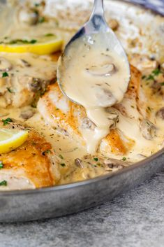 Juicy chicken breasts cooked in a creamy garlic herb mushroom sauce. Creamy mushroom chicken is the perfect recipe when you need dinner on the table fast. Delicious, easy and a guaranteed family favorite! Creamy Mushroom Chicken, Chicken Mushroom Recipes, Creamy Mushrooms, Healthy Chicken Recipes, Stuffed Mushrooms, Cooking Recipes, Cooking Games, Cooking Ideas, Chicken Meals