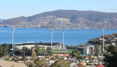 Bellerive Oval between the houses and the beach