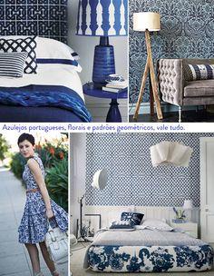 papel de parede azul e branco no quarto