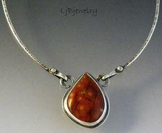 Sterling Silver Necklace, Sterling Silver Pendant, Morgan Hill Poppy Jasper Cabochon Necklace, OOAK, by LjBjewelry