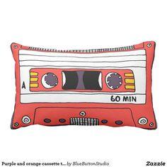 Purple and orange cassette tape throw pillow