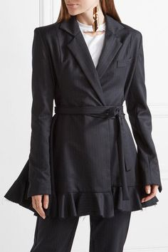 Maggie Marilyn - Give Me Strength Ruffle-trimmed Pinstriped Wool Blazer - Navy