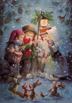 Natal com Juan Ferrandiz Castells - - Christmas with Juan Ferrandiz Castells ( 1918 - Vintage Christmas Images, Old Christmas, Christmas Scenes, Retro Christmas, Vintage Holiday, Christmas Carol, Christmas Pictures, Christmas Greetings, Christmas Holidays