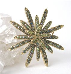 Vintage Gold Tone 2Layer Starburst Brooch Pin by PaisleyzPark, $15.50