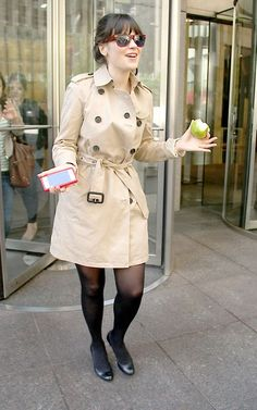 Zooey Deschanel... Brigitte Bardot, Vivienne Westwood, Coco Chanel, Zooey Deschanel Style, Hey Girl, Rain Wear, Celebs, Celebrities, Cute Girls