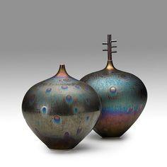 HIDEAKI MIYAMURA Two peacock glaze vases