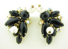 Vintage Juliana Black Aurora Borealis Rhinestone & Pearl Bauble Dangle Earrings