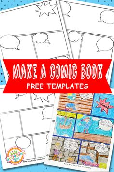 Templates Free Kids Printable Comic Book Templates Free ~ Create your own story! (Motivational way to mix up writing time.)Comic Book Templates Free ~ Create your own story! (Motivational way to mix up writing time. Comic Book Template, Cartoon Template, Free Comic Books, Comic Book Writing, Comic Book Crafts, Comic Book Bible, Superhero Writing, Writing Binder, Comic Book Layout