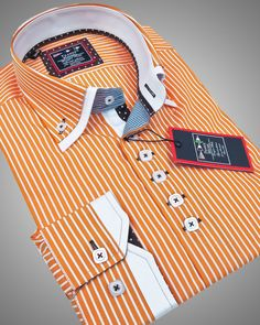 Double collar shirt - Paris orange