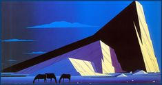 A new-to-me illustrator: Eyvind Earle (1916-2000) - Three Horses, 1987