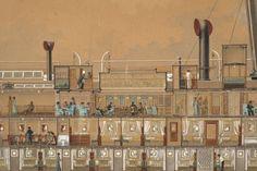 Secció longitudinal del vapor Reina Victòria Eugènia. Detall. Primera meitat s. XX. Autor desconegut. 10351 MMB