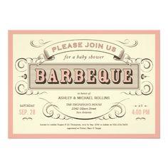 Vintage BBQ Baby Shower Invitations