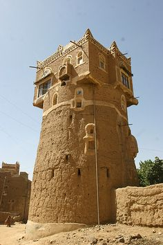 Tower in Wadi Dhar, Yemen.  Here, in the village of Suq al-Wadi, stands a famous rock palace. Its commanding position and evidence of an ancient well suggest that the site has been used as a lookout post for centuries. It is a classic example of Yemeni architecture. (V)