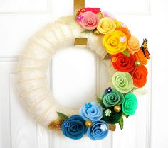 Rainbow Wedding Felt Yarn Wreath